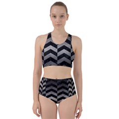 Chevron2 Black Marble & Gray Metal 1 Racer Back Bikini Set
