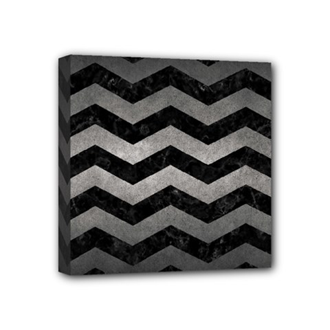 Chevron3 Black Marble & Gray Metal 1 Mini Canvas 4  X 4  by trendistuff