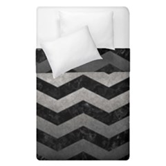Chevron3 Black Marble & Gray Metal 1 Duvet Cover Double Side (single Size) by trendistuff