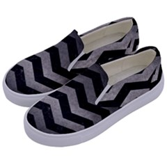 Chevron3 Black Marble & Gray Metal 1 Kids  Canvas Slip Ons by trendistuff