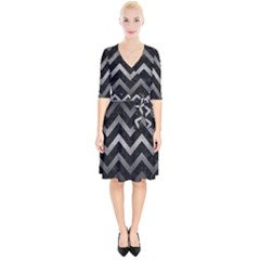 Chevron9 Black Marble & Gray Metal 1 Wrap Up Cocktail Dress by trendistuff