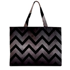 Chevron9 Black Marble & Gray Metal 1 (r) Zipper Mini Tote Bag by trendistuff