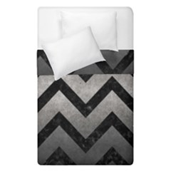 Chevron9 Black Marble & Gray Metal 1 (r) Duvet Cover Double Side (single Size) by trendistuff