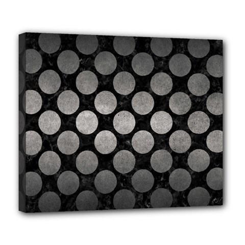 Circles2 Black Marble & Gray Metal 1 Deluxe Canvas 24  X 20   by trendistuff
