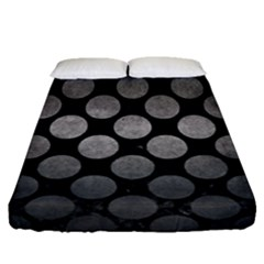 Circles2 Black Marble & Gray Metal 1 Fitted Sheet (queen Size) by trendistuff