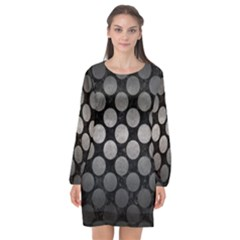 Circles2 Black Marble & Gray Metal 1 Long Sleeve Chiffon Shift Dress