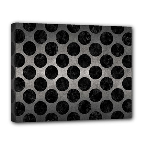 Circles2 Black Marble & Gray Metal 1 (r) Canvas 14  X 11  by trendistuff