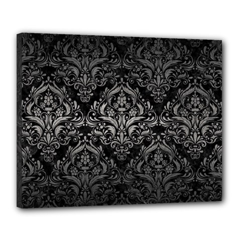 Damask1 Black Marble & Gray Metal 1 Canvas 20  X 16  by trendistuff