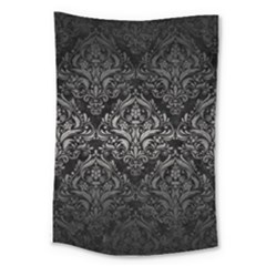 Damask1 Black Marble & Gray Metal 1 Large Tapestry by trendistuff