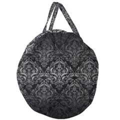 Damask1 Black Marble & Gray Metal 1 Giant Round Zipper Tote by trendistuff