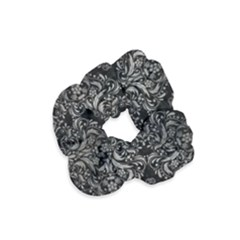 Damask1 Black Marble & Gray Metal 1 Velvet Scrunchie