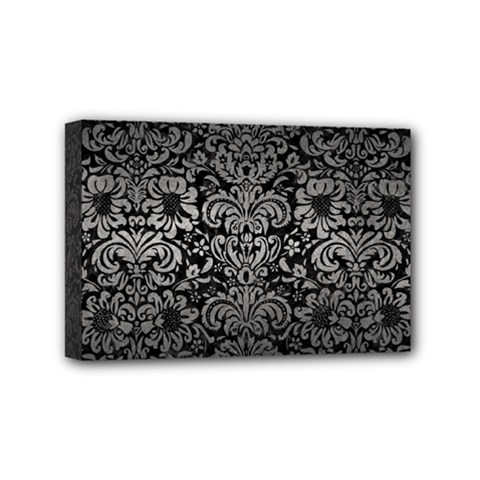 Damask2 Black Marble & Gray Metal 1 Mini Canvas 6  X 4  by trendistuff