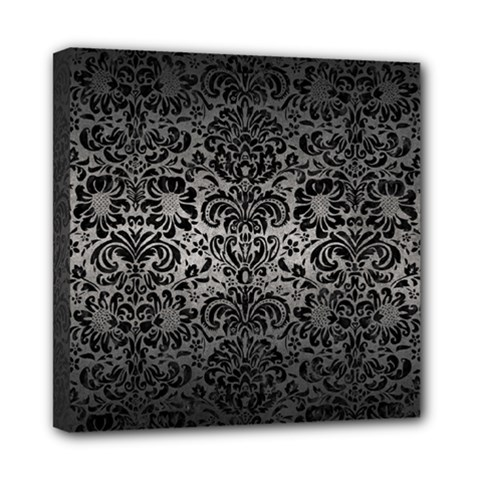 Damask2 Black Marble & Gray Metal 1 (r) Mini Canvas 8  X 8  by trendistuff