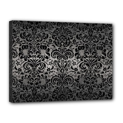Damask2 Black Marble & Gray Metal 1 (r) Canvas 16  X 12  by trendistuff