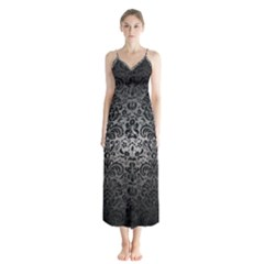 Damask2 Black Marble & Gray Metal 1 (r) Button Up Chiffon Maxi Dress by trendistuff