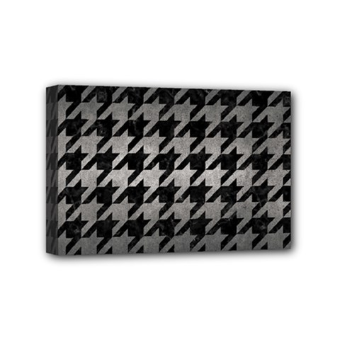 Houndstooth1 Black Marble & Gray Metal 1 Mini Canvas 6  X 4