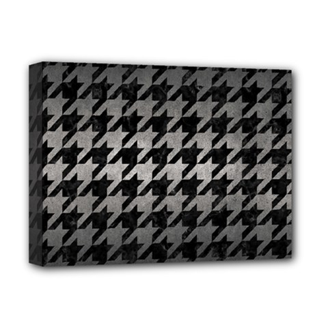 Houndstooth1 Black Marble & Gray Metal 1 Deluxe Canvas 16  X 12   by trendistuff