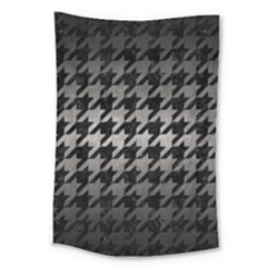 Houndstooth1 Black Marble & Gray Metal 1 Large Tapestry by trendistuff