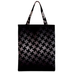 Houndstooth2 Black Marble & Gray Metal 1 Zipper Classic Tote Bag by trendistuff