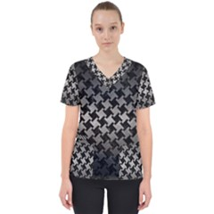 Houndstooth2 Black Marble & Gray Metal 1 Scrub Top