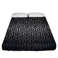 Hexagon1 Black Marble & Gray Metal 1 (r) Fitted Sheet (queen Size)