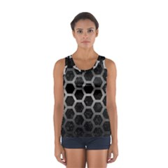 Hexagon2 Black Marble & Gray Metal 1 Sport Tank Top  by trendistuff