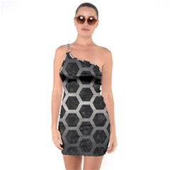 Hexagon2 Black Marble & Gray Metal 1 One Soulder Bodycon Dress by trendistuff