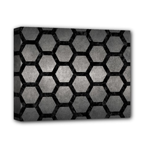 HEXAGON2 BLACK MARBLE & GRAY METAL 1 (R) Deluxe Canvas 14  x 11