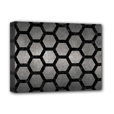 HEXAGON2 BLACK MARBLE & GRAY METAL 1 (R) Deluxe Canvas 16  x 12