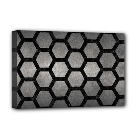 HEXAGON2 BLACK MARBLE & GRAY METAL 1 (R) Deluxe Canvas 18  x 12