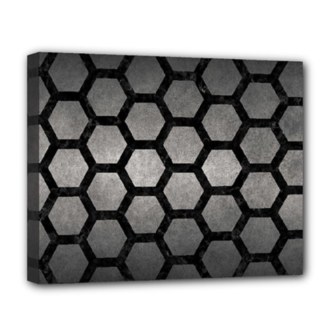 HEXAGON2 BLACK MARBLE & GRAY METAL 1 (R) Deluxe Canvas 20  x 16