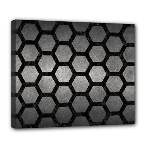 HEXAGON2 BLACK MARBLE & GRAY METAL 1 (R) Deluxe Canvas 24  x 20