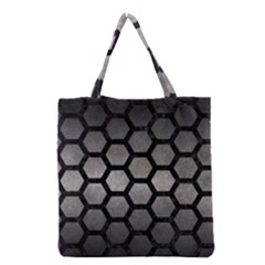 HEXAGON2 BLACK MARBLE & GRAY METAL 1 (R) Grocery Tote Bag