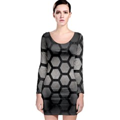 Hexagon2 Black Marble & Gray Metal 1 (r) Long Sleeve Bodycon Dress by trendistuff