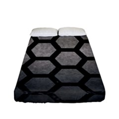 HEXAGON2 BLACK MARBLE & GRAY METAL 1 (R) Fitted Sheet (Full/ Double Size)
