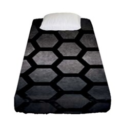 HEXAGON2 BLACK MARBLE & GRAY METAL 1 (R) Fitted Sheet (Single Size)