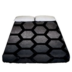 HEXAGON2 BLACK MARBLE & GRAY METAL 1 (R) Fitted Sheet (Queen Size)
