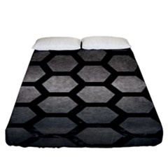 HEXAGON2 BLACK MARBLE & GRAY METAL 1 (R) Fitted Sheet (King Size)