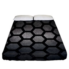HEXAGON2 BLACK MARBLE & GRAY METAL 1 (R) Fitted Sheet (California King Size)