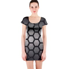 Hexagon2 Black Marble & Gray Metal 1 (r) Short Sleeve Bodycon Dress by trendistuff