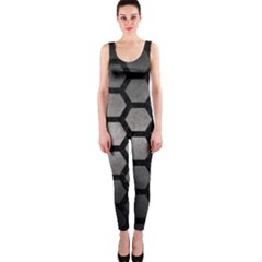 HEXAGON2 BLACK MARBLE & GRAY METAL 1 (R) OnePiece Catsuit