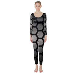 HEXAGON2 BLACK MARBLE & GRAY METAL 1 (R) Long Sleeve Catsuit