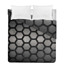 HEXAGON2 BLACK MARBLE & GRAY METAL 1 (R) Duvet Cover Double Side (Full/ Double Size)