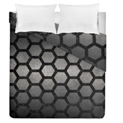 HEXAGON2 BLACK MARBLE & GRAY METAL 1 (R) Duvet Cover Double Side (Queen Size)