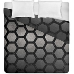 HEXAGON2 BLACK MARBLE & GRAY METAL 1 (R) Duvet Cover Double Side (King Size)