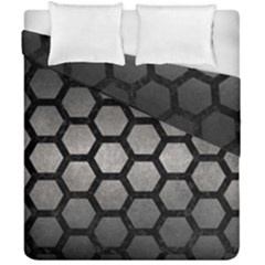 HEXAGON2 BLACK MARBLE & GRAY METAL 1 (R) Duvet Cover Double Side (California King Size)