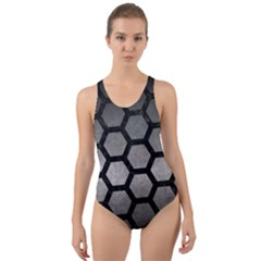 HEXAGON2 BLACK MARBLE & GRAY METAL 1 (R) Cut-Out Back One Piece Swimsuit
