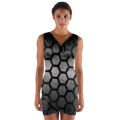 Hexagon2 Black Marble & Gray Metal 1 (r) Wrap Front Bodycon Dress by trendistuff