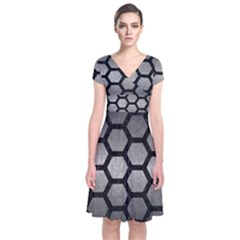 HEXAGON2 BLACK MARBLE & GRAY METAL 1 (R) Short Sleeve Front Wrap Dress