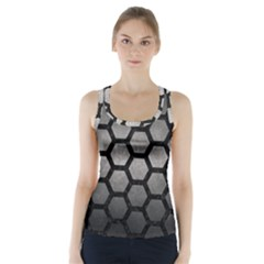 HEXAGON2 BLACK MARBLE & GRAY METAL 1 (R) Racer Back Sports Top
